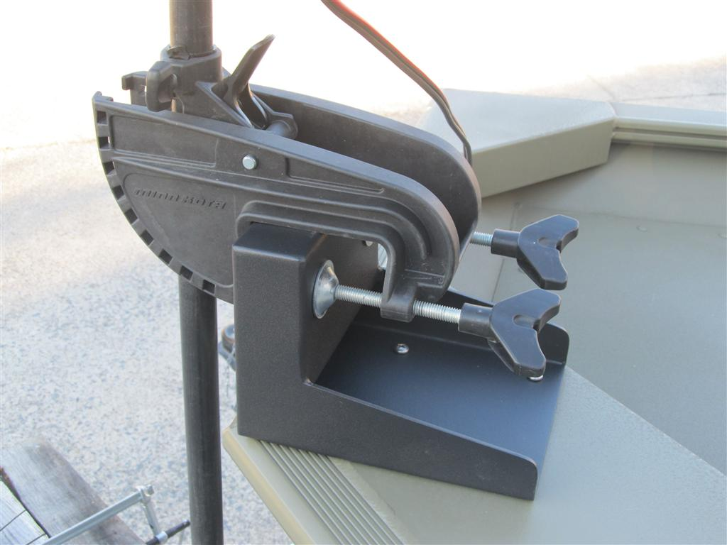 Trolling motor bow mount bracket for transom motors for Mounting a transom mount trolling motor on the bow